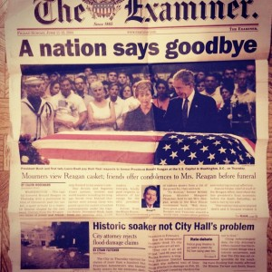 Front page of the 06-11-04 Examiner: Historic soaker not City Hall's problem. In 2015, the City continues to neglect the residents' plea for solutions.